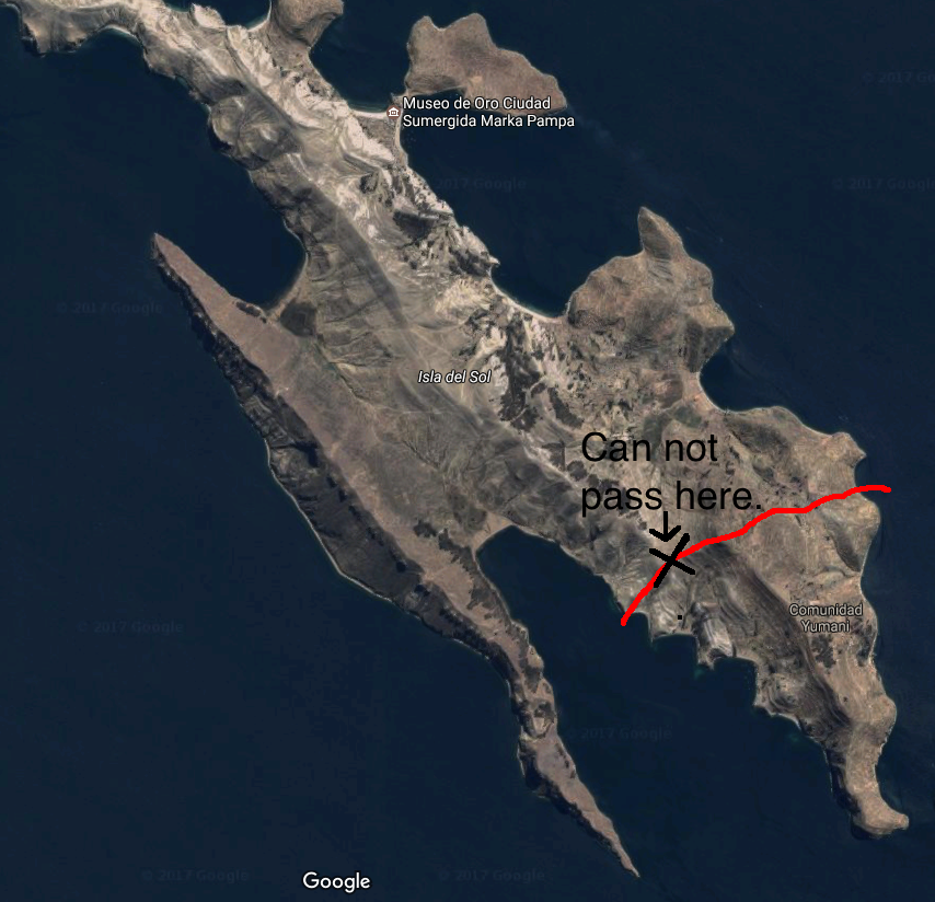 Isla del Sol map showing North vs. South conflict