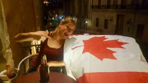 Heather with Canadian Flag in Guanajuato, Mexico
