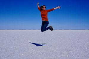 Jumping Salar de Uyuni Bolivia salt flats