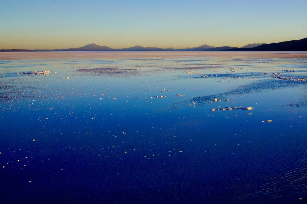 Bolivia salt flat sunset