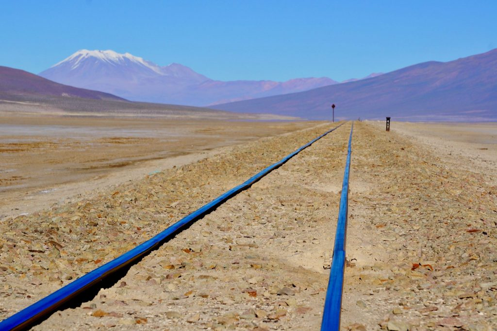 Bolivia train tracks into Chile