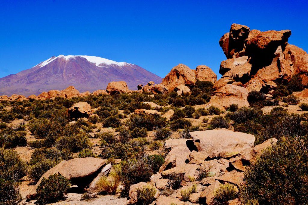 rock formations and mountain during 3-day Salar de Uyuni Salt Flat tour