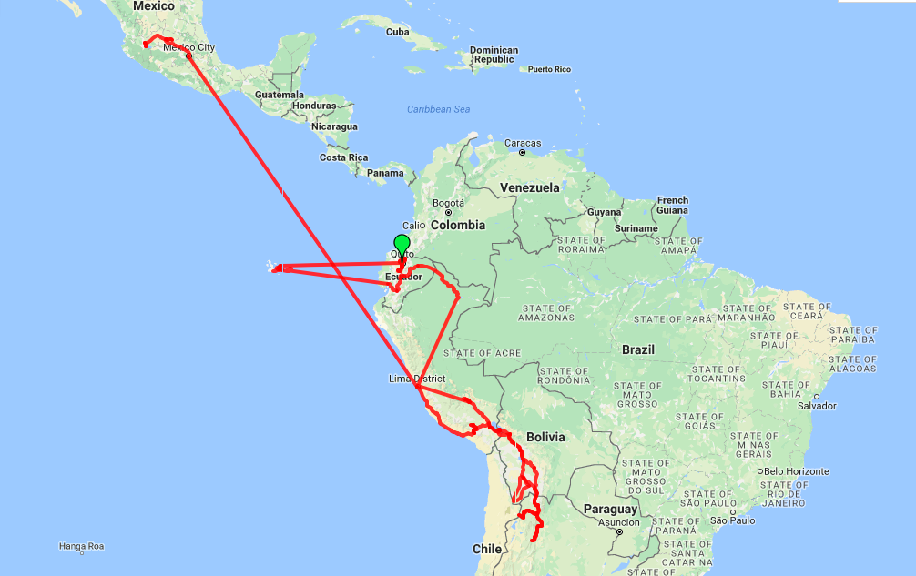 Roaming Around the World route map through South America and Mexico travels 2017