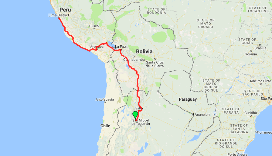 Bus route from Argentina to Peru through Bolivia