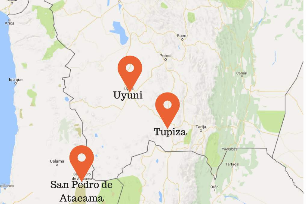 Map of locations to take a Bolivia Salt Flat tour: Uyuni, Tupiza, and San Pedro de Atacama