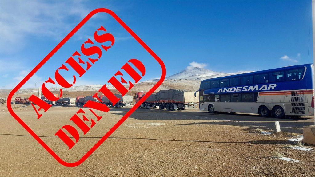 Andesmar bus at Chile border on ride between Salta Argentina and San Pedro de Atacama