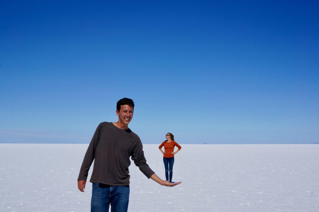 Playing with perspective in Bolivian Salt Flats