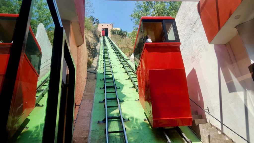 Guanajuato's red funicular to the Pipila Monument