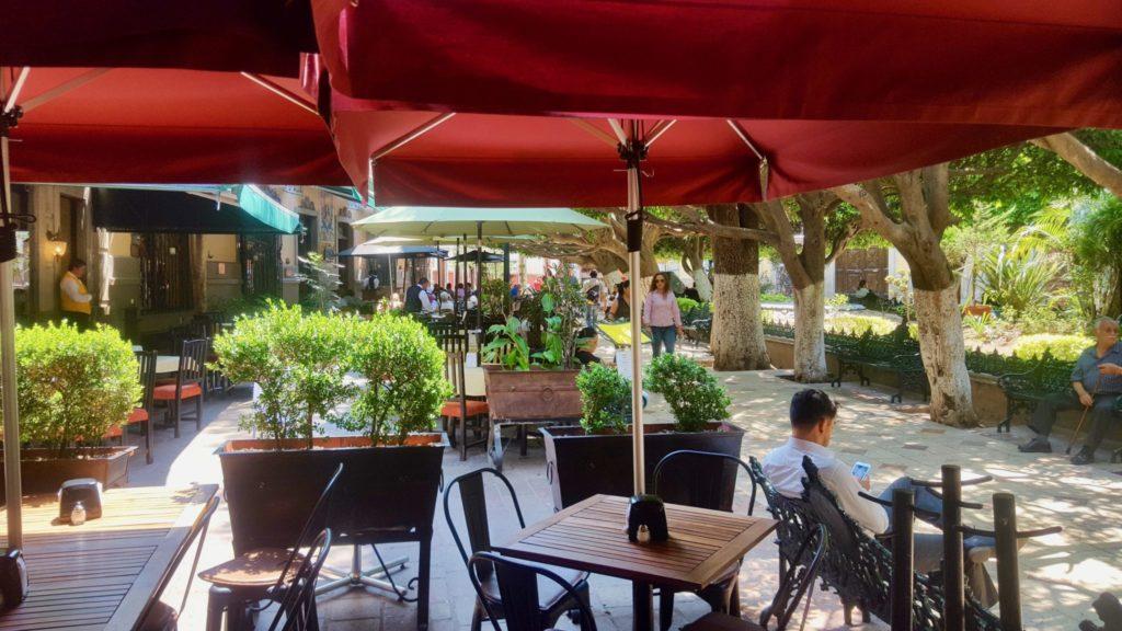 Cafe at Jardin de la Union plaza Guanajuato