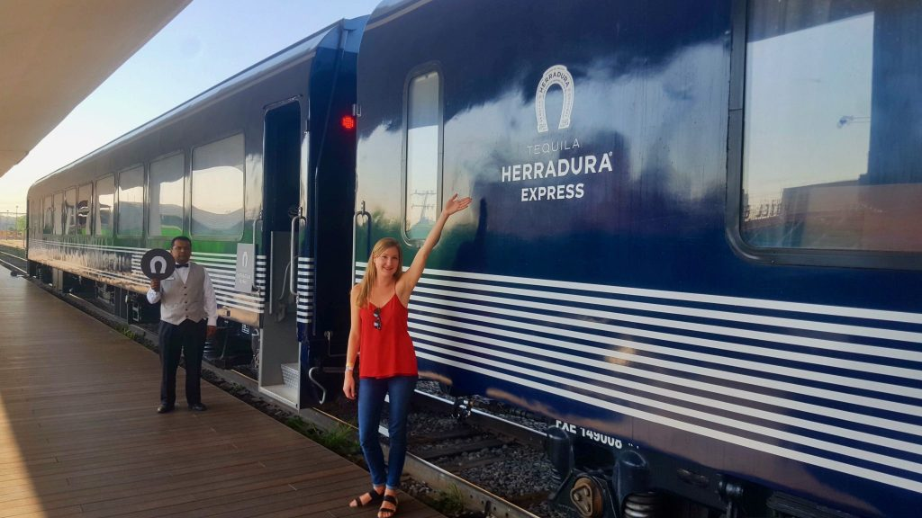 boarding the Tequila Herradura Express tequila train in Guadalajara Mexico