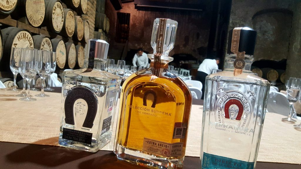 3 Herradura tequilas in tasting room at Casa Herradura: Ultra, Seleccion Suprema, and Directo