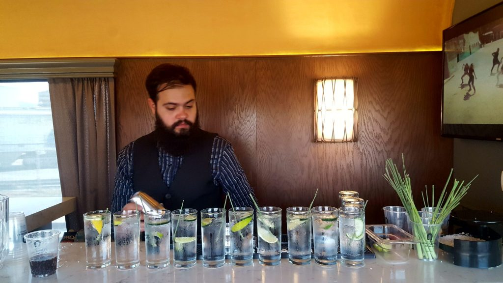 bartender and cocktails on Tequila Herradura Express