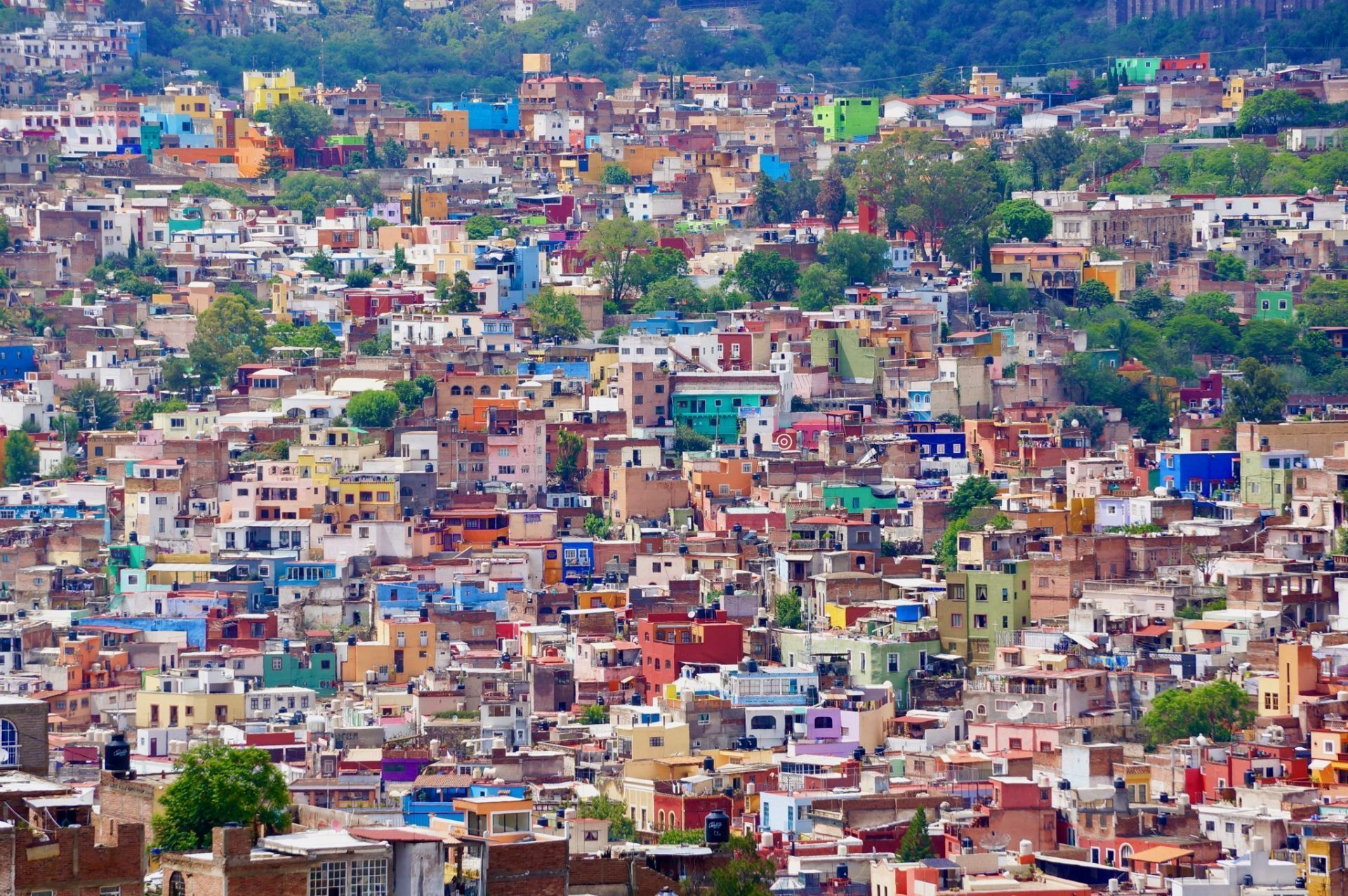 View of Guanajuato Mexico from above