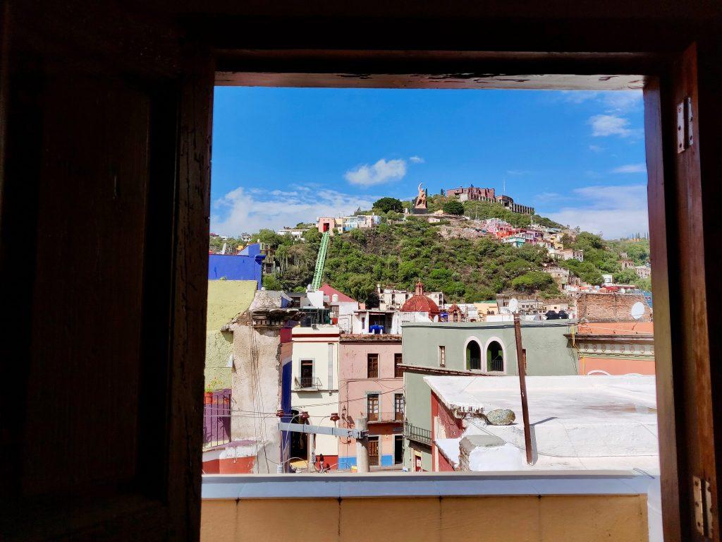 Window view of Guanajuato from Hotel Plaza Baritillo