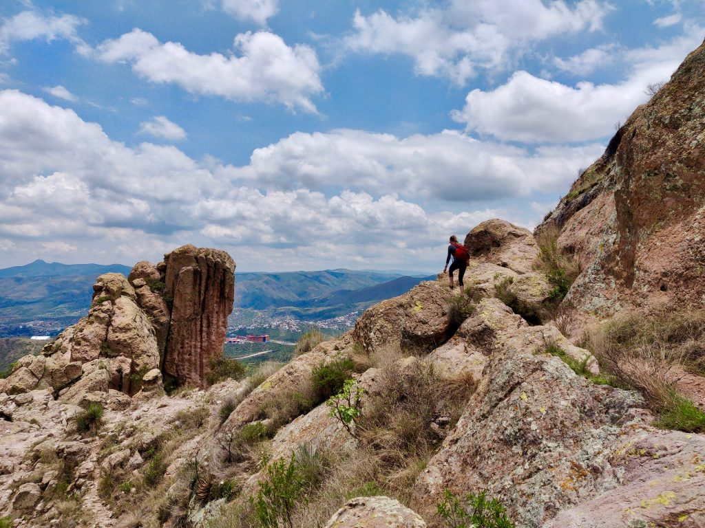 hiking past rock formations on trail to la bufa in Guanajuato Mexico