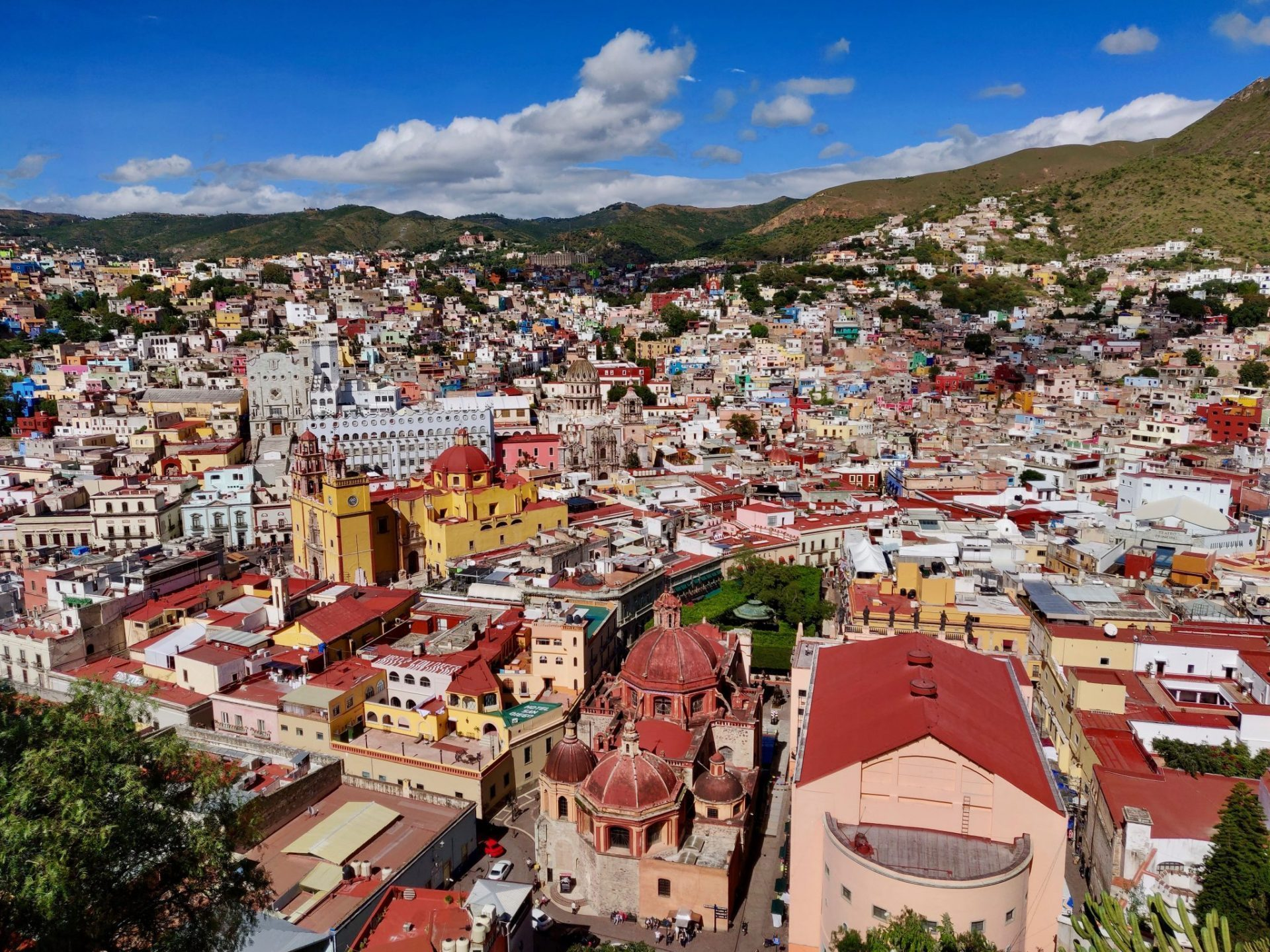 View of colorful buildings in Guanajuato Mexico