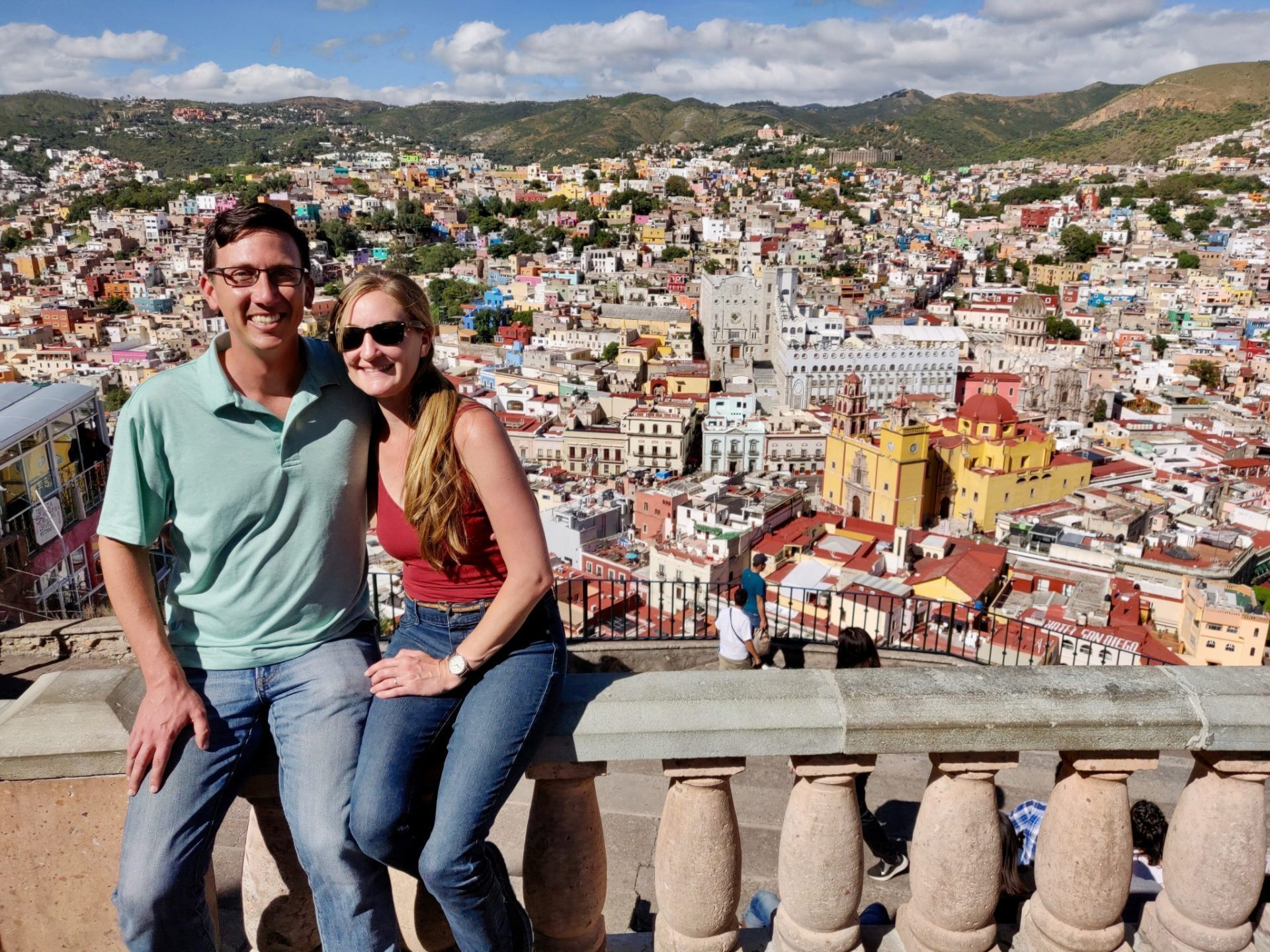 John & Heather at viewpoint in Guanajuato Mexico