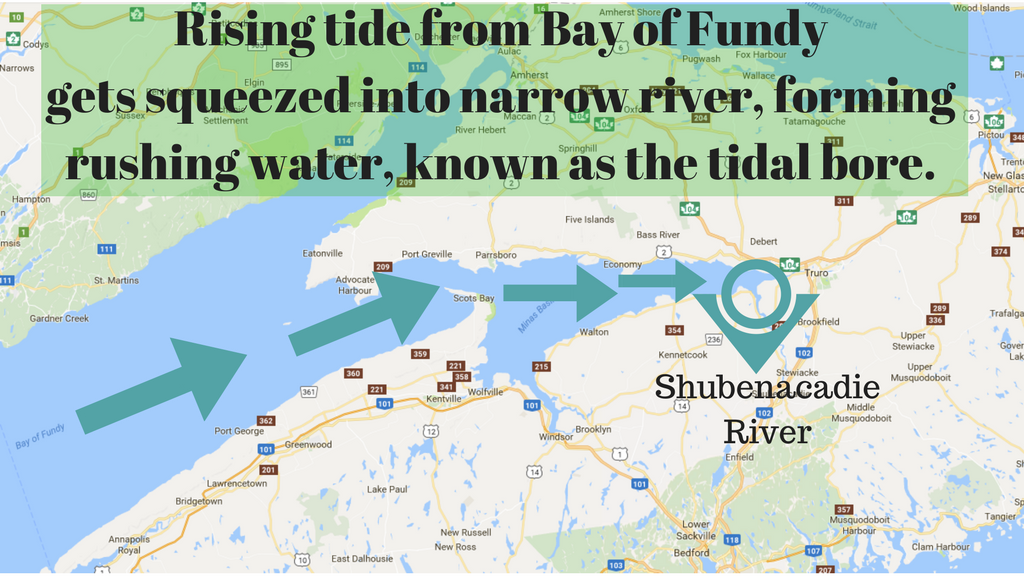 Map of Bay of Fundy - Shubenacadie River tidal bore