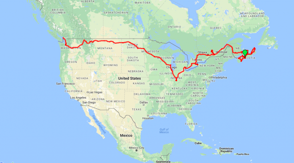 Route map Halifax to Vancouver