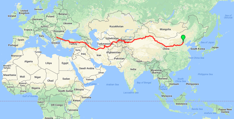Route map: Silk Route across asia