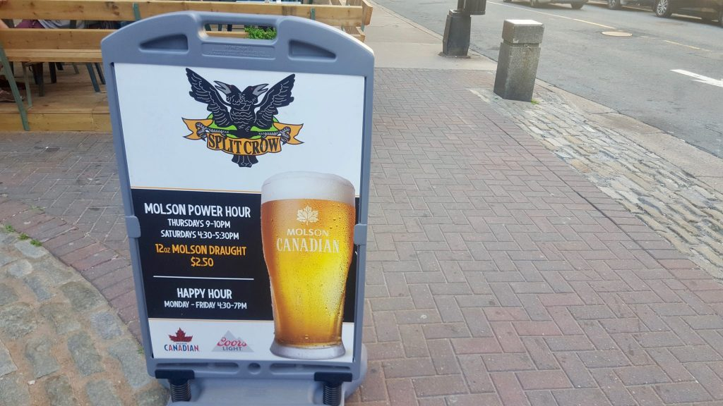 Split Crow power hour $2.50 molson beers is a popular happy hour in Halifax for students