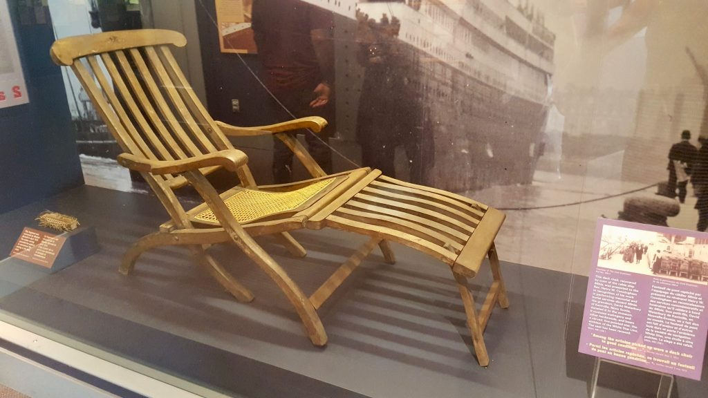 Titanic deck chair at Maritime Museum Halifax
