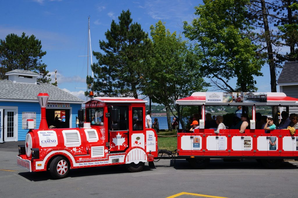 Hali the Road Train is a red street trolley in Halifax Nova Scotia