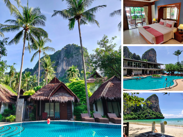 Collage of Sand Sea hotels bungalows, rooms, and pool