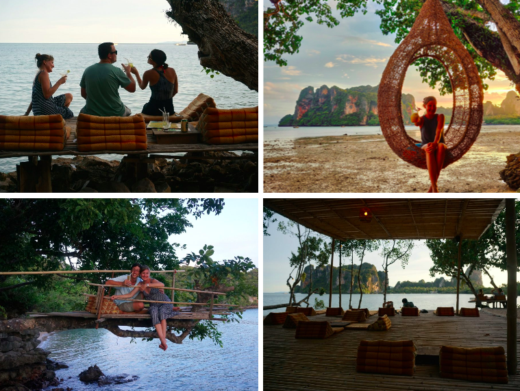 Collage of treehouse bar in Railay