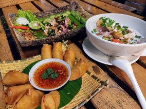 Spring rolls, coconut soup, and chicken salad