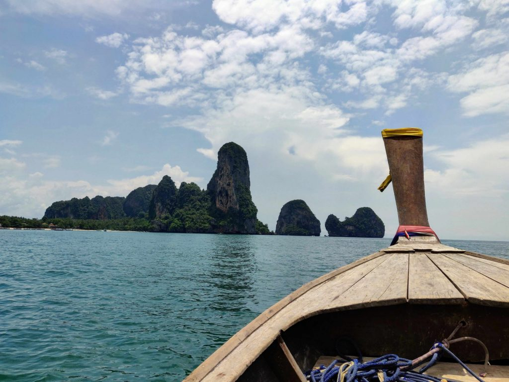inside a longtail boat in Railay Thailand