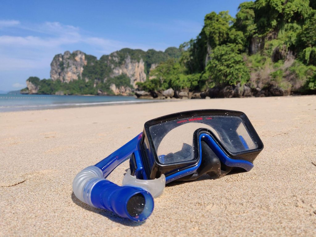 Mask and snorkel lying on Railay beach