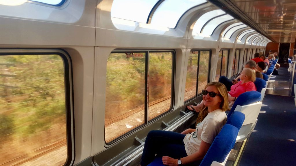 Amtrak Empire Builder Dome Lounge Car with panoramic windows crossing the United States by train