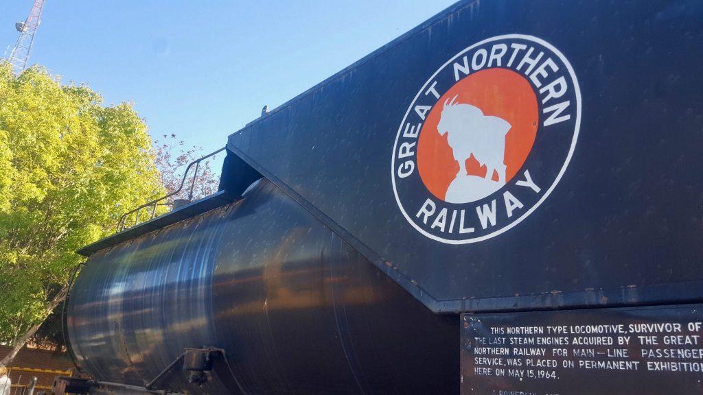 Great Northern Railway steam engine train locomotive in Havre Montana