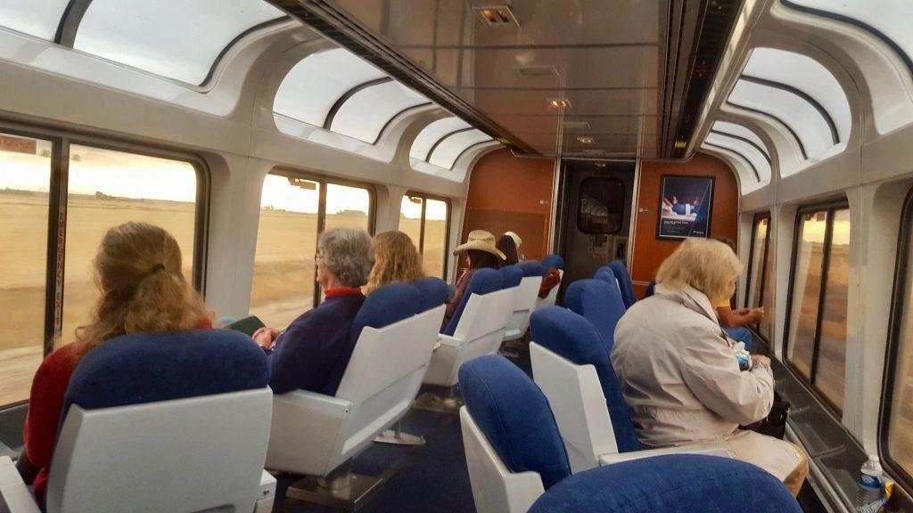 Panoramic windowed train car on the Amtrak Empire Builder