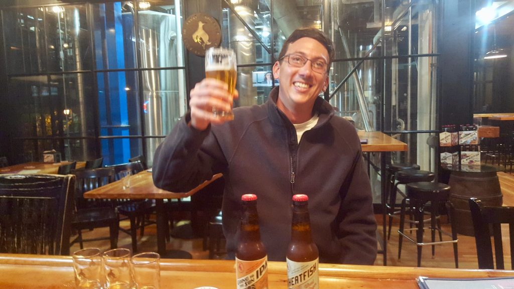 Drinking a pint of beer at Great Northern Brewing Company Whitefish Montana