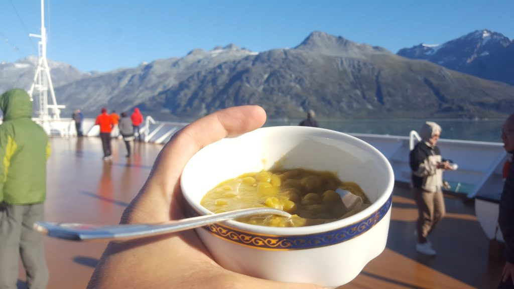 Dutch pea soup is a delicious tradition on the Holland America cruise line that we experienced while nearing glaciers on the Holland America Volendam
