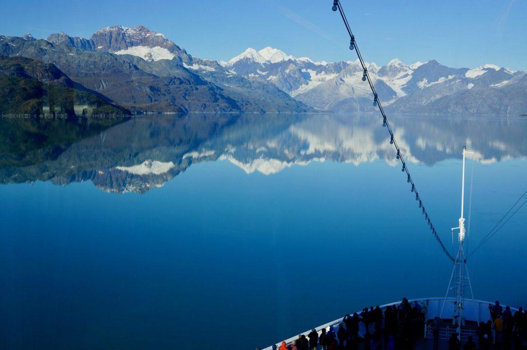 Cruise ship bow entering still waters of Glacier Bay National Park Alaska