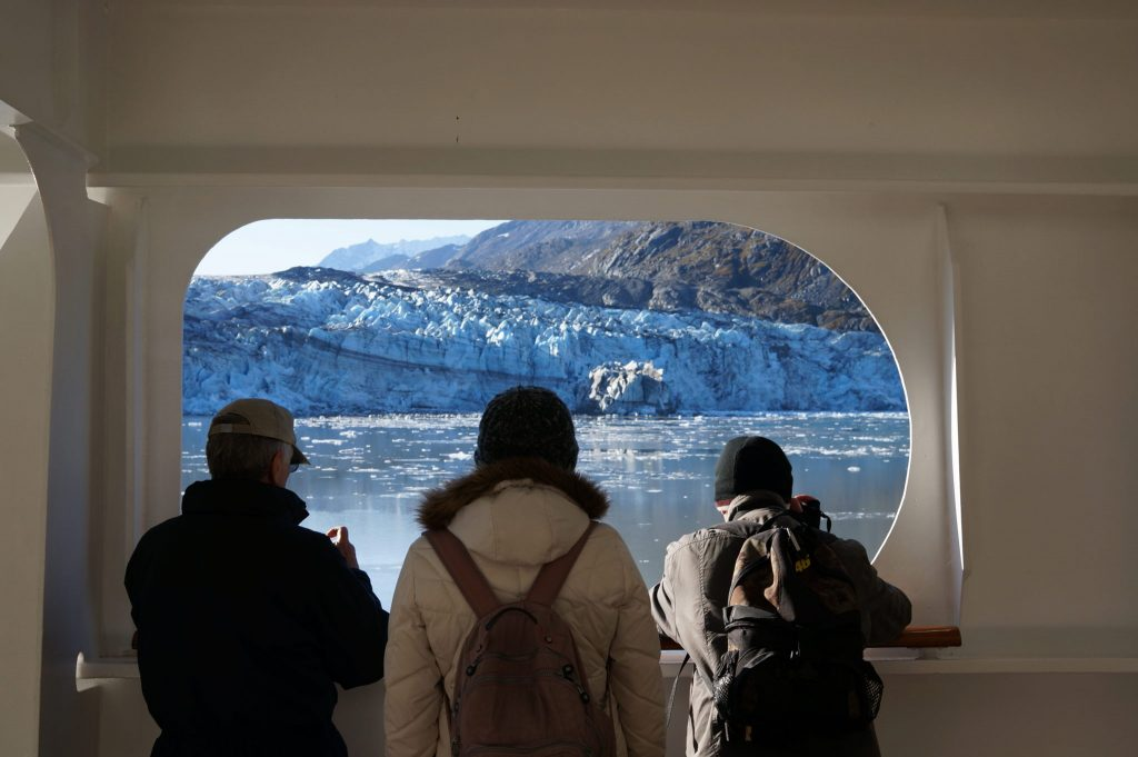 Watching glacier from Volendam cruise ship
