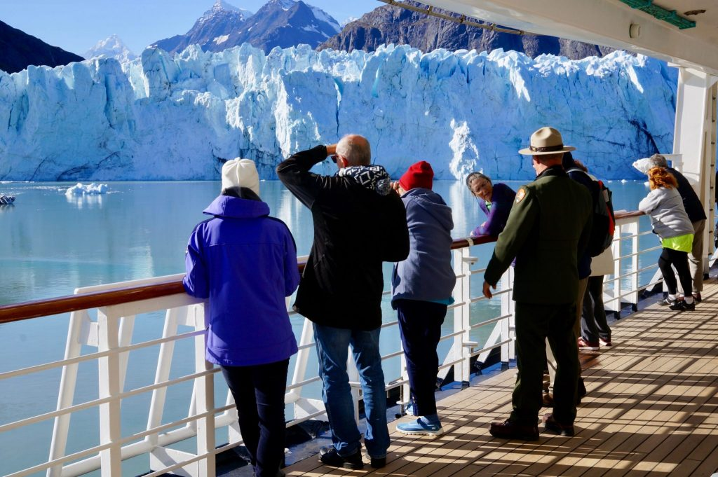 National Park ranger talk on cruise ship in Glacier Bay National Park Alaska