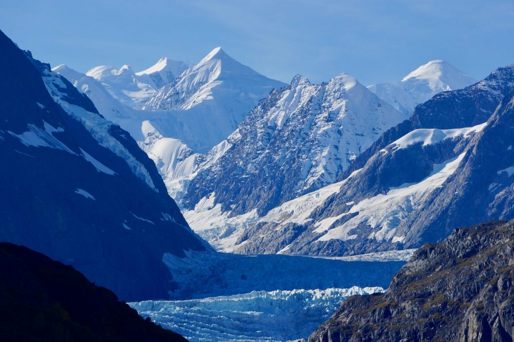 Glacier and ice covered mountains