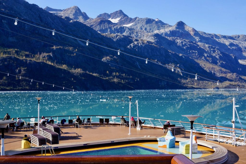 Cruise exiting Glacier Bay National Park Alaska