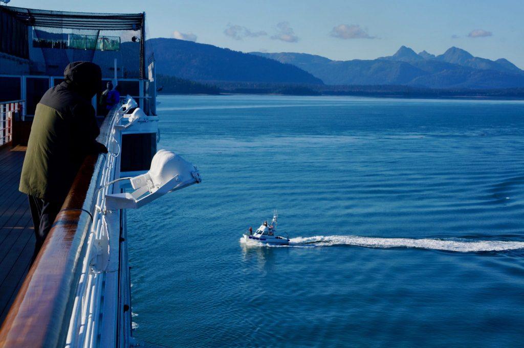 Park Ranger boat boarding cruise ship in Glacier Bay National Park