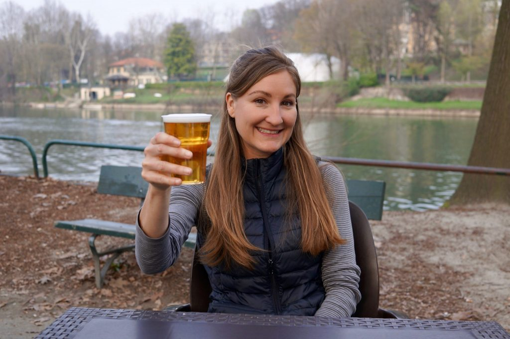 Heather with beer in Turin