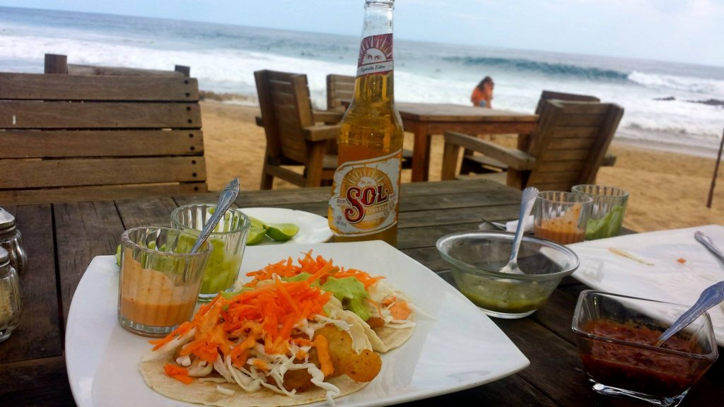 tacos on the beach in Mexico
