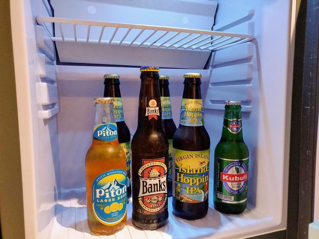 cruise mini fridge stocked with local beers smuggled aboard the ship