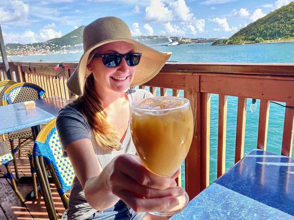 enjoying a painkiller drink while in port in the Virgin Islands