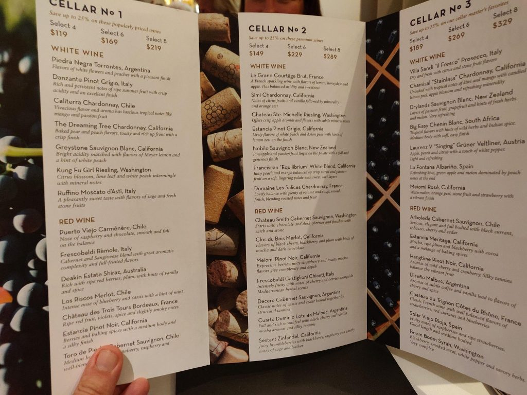 wine packages on a holland America cruise