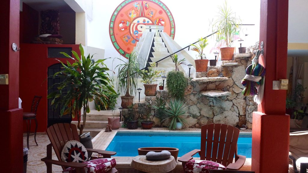 pool and courtyard of a Merida Airbnb we stayed at