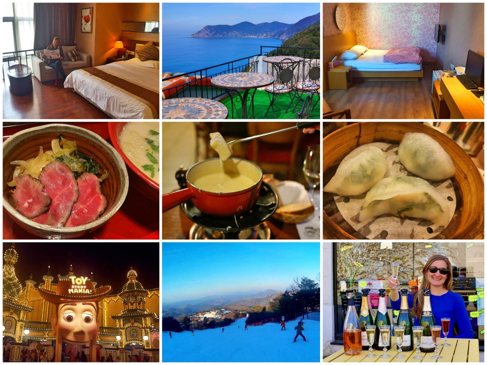 Cheap Round the World collage showing accommodation, food, and experiences